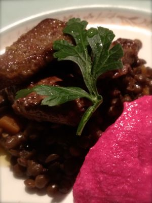 Panfried Calves Liver, Beetroot Mousse and Braised Lentils - €4 for four people