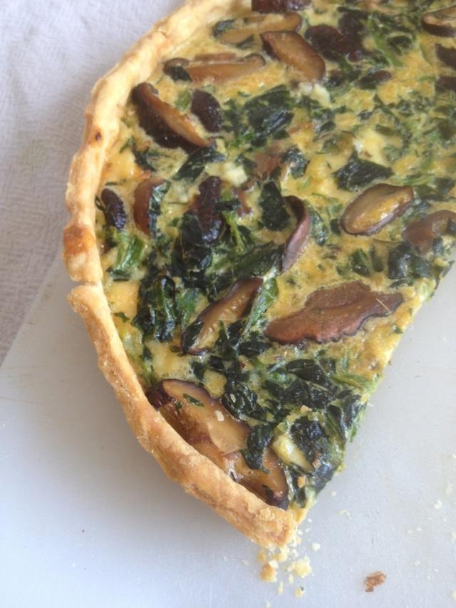 Spinach & Ballyhoura Mountain Mushrooms' Shiitake Tart
